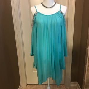 Tops - Cold shoulder shirt with beaded trim